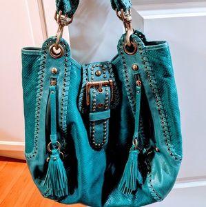 Isabella Fiore Turquoise Python Hobo Handbag